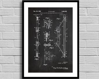 Archery Bow Patent  Art Print Gift Bow And Arrow Archery Patent Archery Gift Marksman Gift Archery Teacher Archery Instructor bow Sp227