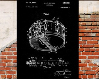 Black and White, 1962 snare patent print, Drum print, Snare drum Print, Patent Print, Wall Art, Poster, Patent, drum print, drum p1456