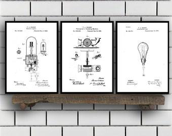 CANVAS Thomas Edison Patent Prints - Set of 3 - Light bulb Patent, Thomas Edison Poster, Thomas Edison Blueprint, Thomas Edison art sp346
