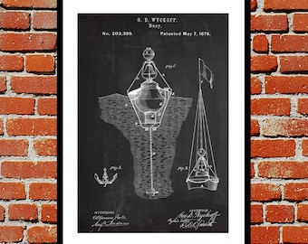 Water Buoy Print Water Buoy Poster Water Buoy Patent Water Buoy Decor Water Buoy Blueprint Water Buoy Wall Art Nautical Decor p333