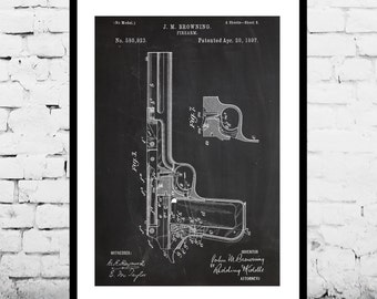J.M. Browning Firearm Art J.M. Browning Firearm Patent J.M. Browning Firearm Print J.M. Browning Firearm Poster Gun art sp320