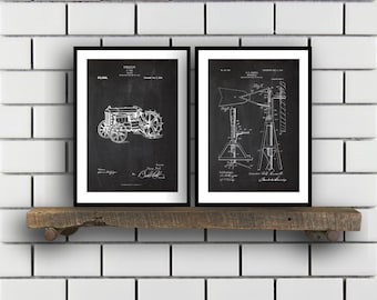 Farm Related Patent Set of TWO Farm Invention Patent Farm Poster Farm Print Farm Patent Farm Inventions SP182