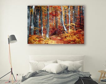Fall leaves Print Large Wall Art Print Thick Forest Fine Art Photography Print Nature Photography Wall Decor Trees Nature PH041