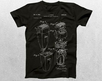 Electric Razor Patent T-Shirt, Electric Razor Blueprint, Patent Print T-Shirt, Shaving Shirt, Gifts for Him p106