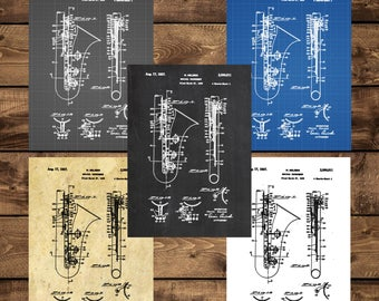 INSTANT DOWNLOAD - Saxophone Poster, Saxophone Patent, Saxophone Print,Saxophone Decor, Saxophone Blueprint, Saxophone Wall Art, Sax, Music