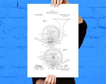 French Horn Patent, French Horn Design, French Horn Wall Art, Brass Instrument Decor, Brass Instrument Wall Art p803