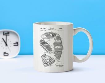Canoe patent mug  coffee mug  coffee lover  patent art  patent mug  Canoe Gift Canoer Gift Kayaking Outdoors DecorM236
