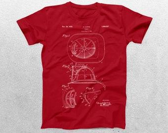 Fireman's Helmet Patent T-Shirt, Fireman's Helmet Blueprint, Patent Print T-Shirt, Fireman Shirt, Firefighter T-Shirt p1103