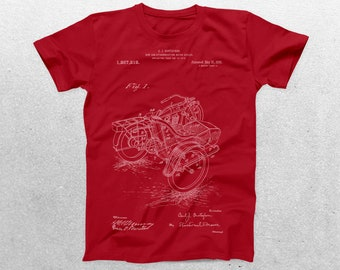 Motorcycle Sidecar Patent T-Shirt, Motorcycle Blueprint, Patent Print T-Shirt, Mechanic Shirt, Biker Gift, Vintage Art p023