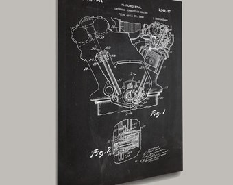 CANVAS Internal Combustion Engine Canvas PatentEngine Canvas Internal Combustion Blueprint Engine Canvas Art Engine Canvas Decor p020