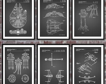 Star Wars patent, Millennium Falcon, Tie Bomber, X-wing, AT-AT, Star Wars Poster, Star Wars Patent, Millennium Falcon Star Wars Print SP566