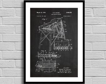 Corn Husking Machine Patent Corn Husking Machine Patent Poster Corn Husking Machine Blueprint Corn Husker Machine Print Agriculture p753