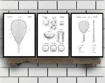 racquetball Patents Set of 3 Prints, racquetball Prints, racquetball Posters, racquetball Blueprints, racquetball Art, racquetball Sp356