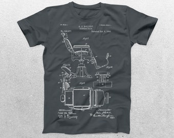 Barber's Chair Patent T-Shirt, Barber's Chair Blueprint, Patent Print T-Shirt,Barber Gift, Gifts for Him, Vintage Art p039