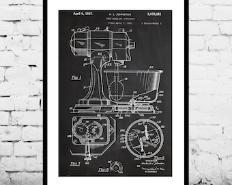Kitchen Mixer Poster Kitchen Mixer Poster  KitchenAid Patent Kitchen Mixer Print Kitchen Aid Print Food Handling Apparatus KitchenAid p1026