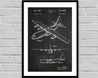 C130 Hercules Plane Patent Plane Patent Poster Airplane Blueprint Vintage Plane Print Home decor Gift for him Aeronautical Gift p378