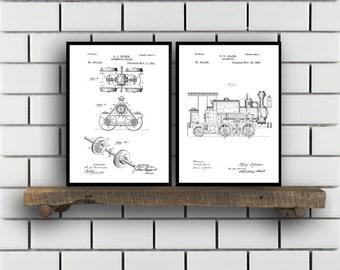 Train Patents Set of 2 Prints Train Prints Train Posters Train Blueprints Train Art Train Wall Art Train Prints Train Art SP322