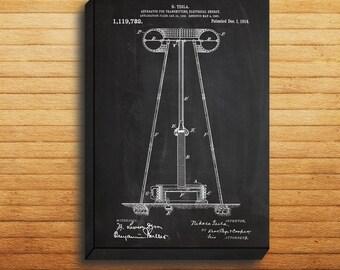 CANVAS  Tesla Electrical Transmitter Patent Tesla Transmitter Poster Tesla Transmitter Print Tesla Transmitter Blueprint p04