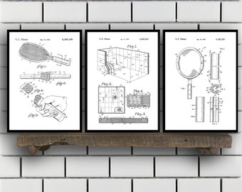 racquetball Patents Set of 3 Prints, racquetball Prints, racquetball Posters, racquetball Blueprints, racquetball Art, racquetball sp355