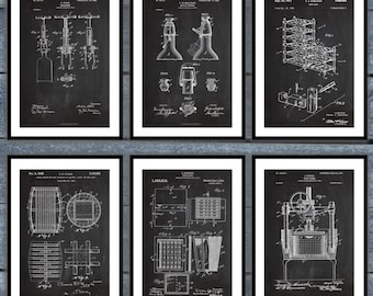 Inventions of Wine Patent set of 6 - Wine Patent - Wine Art - Wine Wall Art - Wine Decor - Wine Bar - Wine Rack - Cork Screw Poster sp10