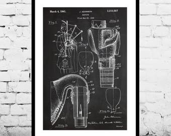 Bagpipe Patent, Bagpipe Patent Poster, Bagpipe Blueprint, Bagpipe Bottle Print, Mancave decor, Gift for him, Bagpipe art, Bagpipe p383