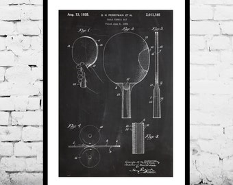 Table Tennis Paddle Print, Table Tennis Paddle Poster, Table Tennis Paddle Patent, Table Tennis Paddle Blueprint, Table Tennis Art p286