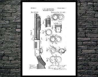 Browning Magazine Firearm Gun Poster Browning Magazine Firearm Patent Browning Magazine Firearm Print Gun poster Gun Print Gun Decor p1241