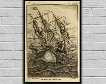 Octopus Art Print Kraken Sea Monster Colossal Octopus Print Art Print Natural History Poster Natural History Print Octopus 132
