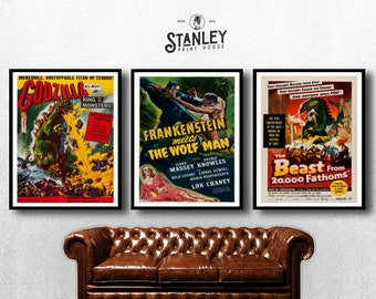 MOVIE posters set of 3 vintage movies Classic Horror frankenstein house of godzilla Poster Art Vintage Print Art Home Decor monster sp595
