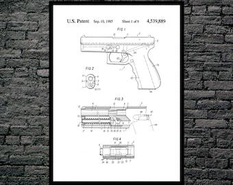 Glock Gun Poster Glock Gun Pistol Patent Glock Gun  Print Glock Pistol Art Glock Pistol Decor Glock Pistol Blueprint Revolver p1254