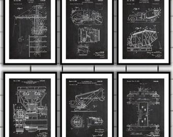 Construction Patent Prints - Set of SIX - Tower Crane, Road Roller, Concrete Mixer, Slip Ring, Shovel Winch, Construction Decor sp56