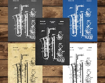 INSTANT DOWNLOAD - Saxophone Poster, Saxophone Patent, Saxophone Print, Saxophone Decor, Saxophone Blueprint, Saxophone Wall Art, Sax, Music