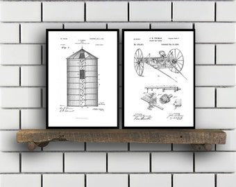 Farm Related Patent Set of TWO Farm Invention Patent Farm Poster Farm Print Farm Patent Farm Inventions SP180