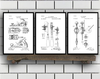 Woodworking Patent Prints Set of THREE, Woodworking Tools Patents, Tools, Carpenter tool Inventions, Woodworking Decor, Mancave sp389