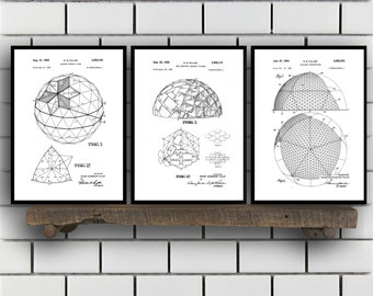 Buckminster Related Patent Set of Three, Buckminster Invention Patent, Buckminster Poster, Architecture Geodesic, Architecture SP375