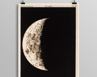 Vintage Telescopic View Of The Moon, Full Moon Map Reproduction, Science Student, Lunar Astronomy, Moon Phases, Astronomer Gift Idea 0437