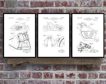 Harley Davidson Posters Set of 3 - motorcycle frame - Harley saddle support - Harley Davidson Motorcycle - Harley Engine - Motorcycle Sp65