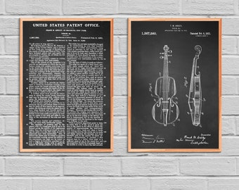 Violin Poster Violin Patent Violin Print Violin Art Violin Decor Violin Wall Art Violin Blueprint String Instrument Decor Music Room 2P72