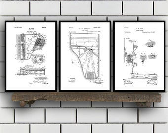 Piano Patents Set of 3 Prints, Piano Prints, Piano Posters, Piano Blueprints, Piano Art, Piano Wall Art Sp334