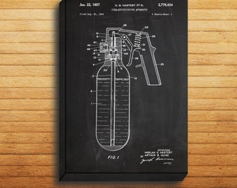 CANVAS  Fire Extinguisher Patent Fire Extinguisher Poster Fire Extinguisher Print Fire Extinguisher Art Fire Extinguisher Decor p118