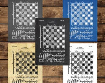 INSTANT DOWNLOAD - Checker and Chessboard Patent, Checker and Chess Patent Poster, Checker and Chessboard, Game Decor, Game Room Decor