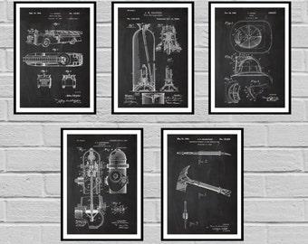 Firefighter Patents SET of 5 Firefighter Poster Firefighter Art Firefighter Decor Firefighter Wall Art Gift Firefighter gift sp428