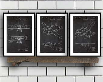 Airplane Patent, Airplane poster Set of THREE, Airplane Invention Patent, Airplane Poster, Airplane Print, Airplane Inventions SP224