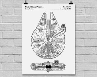Star Wars Millennium Falcon Star Wars Poster Star Wars Patent Star Wars Print Millennium Falcon Boba Fett Black and white p933