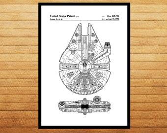Star Wars patent Millennium Falcon Star Wars Poster Patent decor Star Wars Patent Millennium Falcon Star Wars Print Millennium Falcon p933