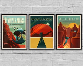 SPACEX MARS POSTERS, Spacex set of 3, Space travel posters, Retro Space Designs, SpaceX Mars, Retro Space, Space Poster, Space sp500