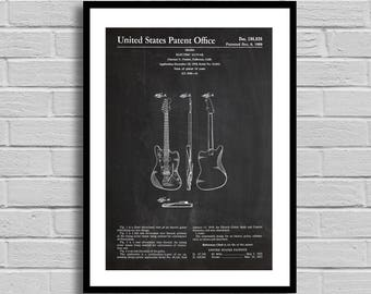 Fender Electric Guitar Patent, Electric Guitar Patent Poster, Electric Guitar Blueprint, Electric Guitar Print, Music Decor, Musician p773