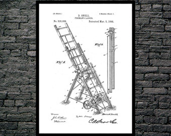Fire Ladder Patent Fire Ladder Poster Fire Ladder Blueprint  Fire Ladder Print Fire Ladder Art Fire Ladder Decor p561