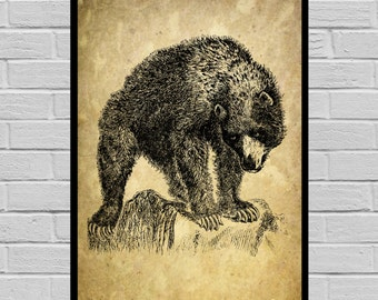 Antique Black Bear print Old Paper Vintage Dictionary page Black Bear poster Vintage Black Bear Art Black Bear print V23
