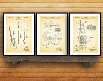Fender Guitar Poster - 3 PACK,  Fender Guitar Blueprint, Fender Guitar Patent, Fender Guitar Prints, Fender Guitar Art, Guitar Decor SP42